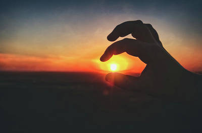 Poster featuring the photograph Hand Silhouette Around Sun - Sunset At Lapham Peak - Wisconsin by Jennifer Rondinelli Reilly - Fine Art Photography