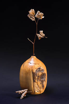 Hand Turned Weed Vase With Dead Twig Poster by Donald  Erickson