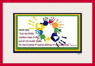 Handprints For Jesus Poster by Christine Nichols