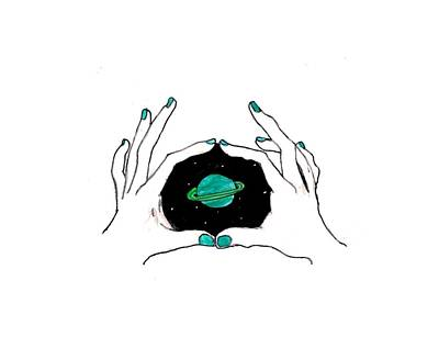 Hands Around Saturn Poster by Lucy Frost