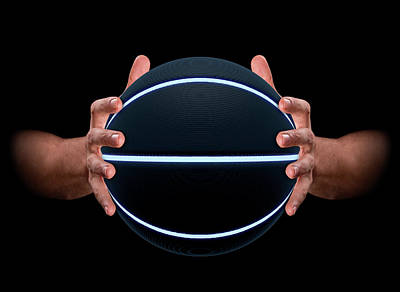 Hands Gripping Basketball Poster