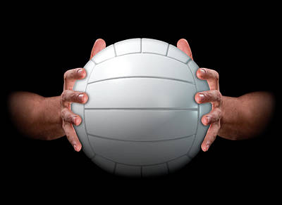 Hands Gripping Volleyball Poster
