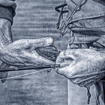 Hands Of A Fly Fisherman Monochrome Blue Poster by Jennie Marie Schell