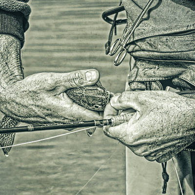 Hands Of A Fly Fisherman Monochrome Green Poster by Jennie Marie Schell