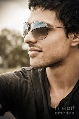 Handsome Male Model In Fashionable Sunglasses Poster
