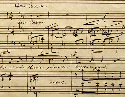 Handwritten Score For Hjertets Melodier, Opus 5 Poster by Edvard Grieg