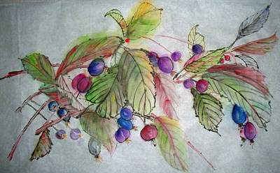 Poster featuring the painting Hanging Crabapples by Debbi Saccomanno Chan