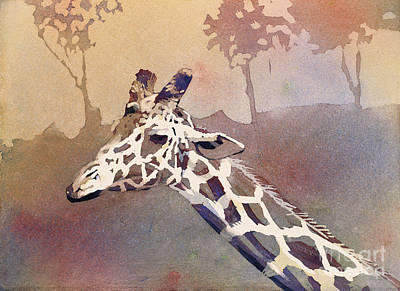 Poster featuring the painting Hanging Out- Giraffe by Ryan Fox