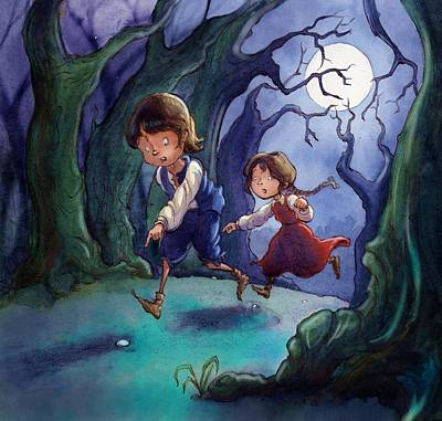 Hansel And Gretel Pebbles Poster by Andy Catling