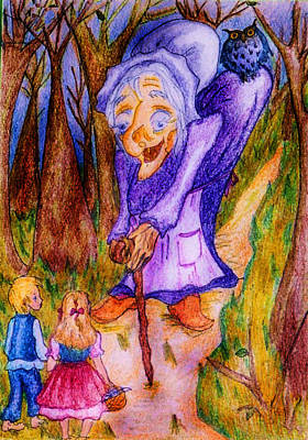 Poster featuring the drawing Hansel And Gretel by Rae Chichilnitsky