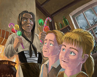 Hanzel And Gretel In Witches Kitchen Poster