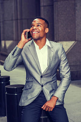 Happy African American Businessman Working In New York 15082323 Poster