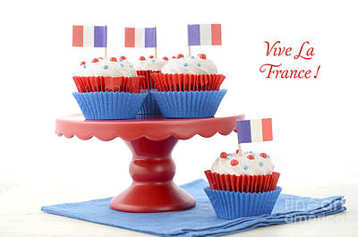 Happy Bastille Day Party Cupcakes Poster by Milleflore Images
