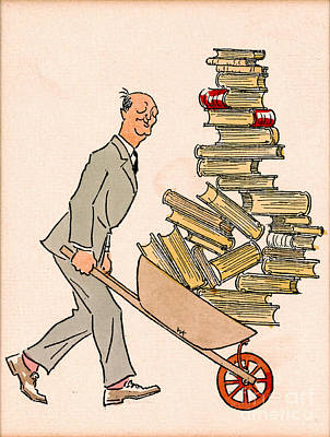 Poster featuring the drawing Happy Bibliophile 1930 by Padre Art