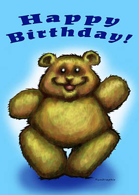 Happy Birthday Bear Poster by Kevin Middleton