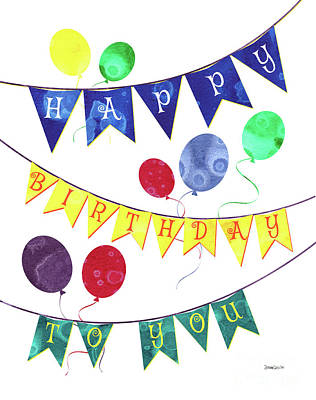 Happy Birthday Flag Poster by Debbie DeWitt