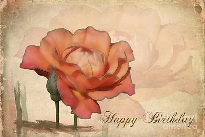 Happy Birthday Peach Rose Card Poster