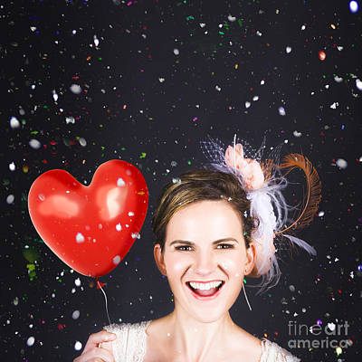 Happy Bride In Confetti During Wedding Celebration Poster