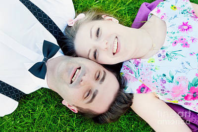 Happy Couple In Love Lying On Summer Grass And Smiling Poster by Michal Bednarek