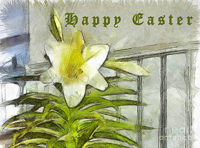 Poster featuring the photograph Happy Easter Lily by Claire Bull