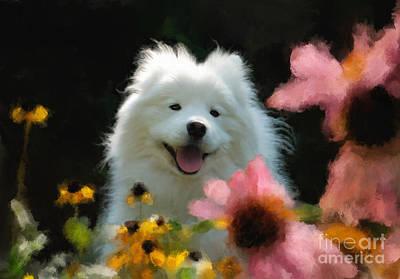 Happy Gal In The Garden Poster