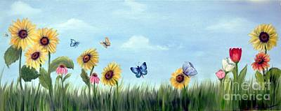 Poster featuring the painting Happy Garden by Carol Sweetwood