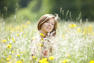 Happy Girl In A Flower Meadow Poster by Wolfgang Steiner