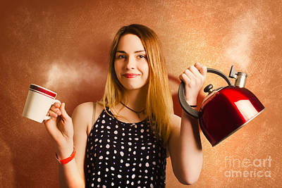 Happy Girl Serving Up Hot Coffee Beverage Poster by Jorgo Photography - Wall Art Gallery