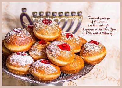 Happy Hanukkah Greeting Card#1 Poster by Irena Kazatsker