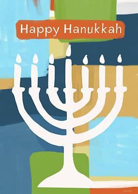 Happy Hanukkah Menorah Painted- Art By Linda Woods Poster