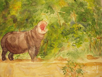 Poster featuring the painting Happy Hippo by Vicki  Housel