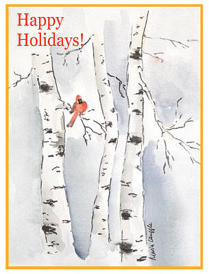 Poster featuring the painting Happy Holidays by Maria Langgle