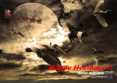Happy Holidays . Winter Migration Poster by Wingsdomain Art and Photography