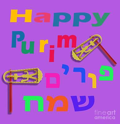 Happy Joyous Purim In Hebrew And English Poster by Humorous Quotes