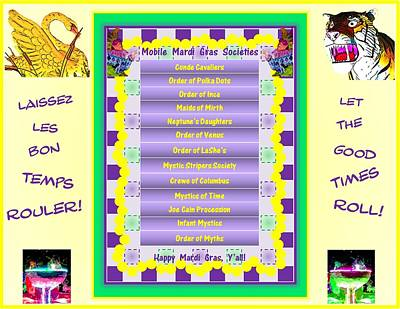 Happy Mardi Gras Y'all Poster by Marian Bell