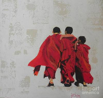 Happy Monks  Poster by Jolanta Shiloni