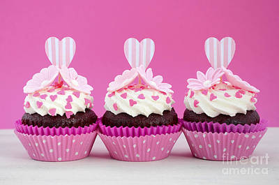 Pink And White Cupcakes. Poster