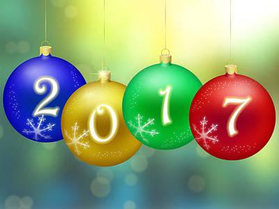 Happy New Year 2017 Poster by Miroslav Nemecek