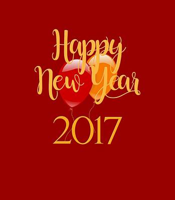 Poster featuring the digital art Happy New Year 2017 With Balloons by Heidi Hermes