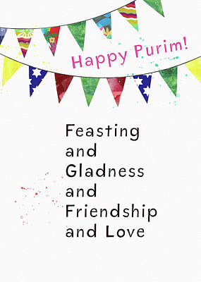 Poster featuring the mixed media Happy Purim Card- Art By Linda Woods by Linda Woods