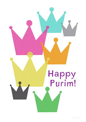 Poster featuring the mixed media Happy Purim Crowns - Art By Linda Woods by Linda Woods