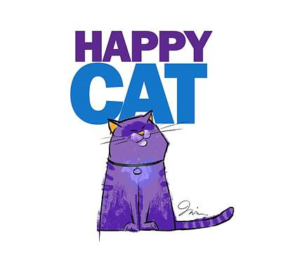 Happy Purple Cat Poster by Trevor Irvin