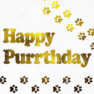 Happy Purrday Gold Poster