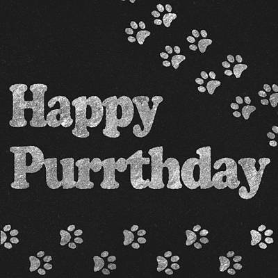 Happy Purrthday Black And Silver Poster