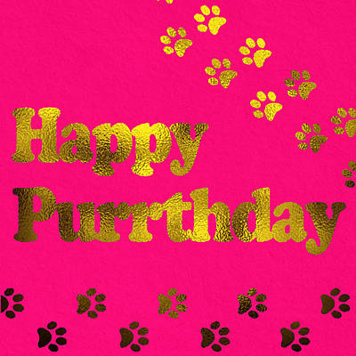 Happy Purrthday Pink Poster