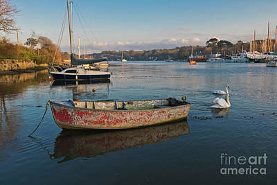 Happy Reflections Of An Old Red Boat Poster by Terri Waters