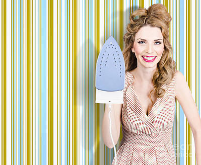 Happy Retro Housewife Holding Iron Poster