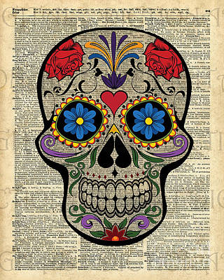 Happy Skull,sugar Skull,dia De Los Muertos,halloween Artwork Poster
