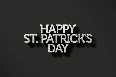 happy st patricks day Text On Black Poster