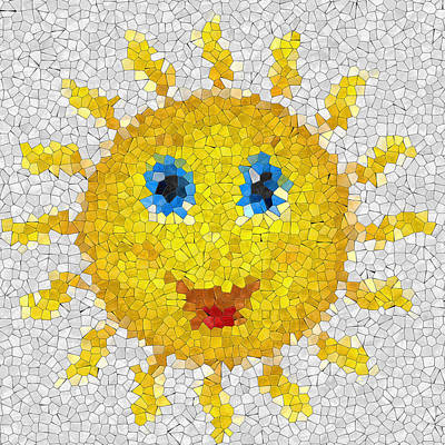 Happy Sun Glass Mosaic Poster